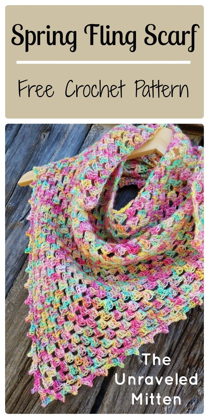 Spring Fling Triangle Scarf: A Free Crochet Pattern | Pinterest ...