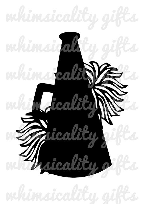 Digital File Cheerleading Megaphone With Pom Poms With Svg Dxf Png Commercial Personal Use Cheerleading Megaphones Cheerleading Silhouette Cameo Projects