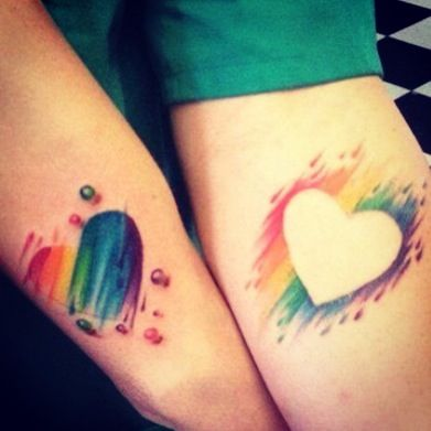 Rainbow Pride Hearttattoo Couples Tattoo Designs Couple Tattoos
