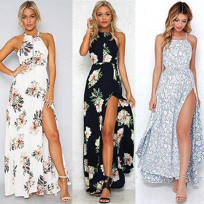 24b70f7bf51 Women Summer Boho Long Maxi Party Beach Dress Evening Floral Dresses Ladies  Womens Print Flower Sundress