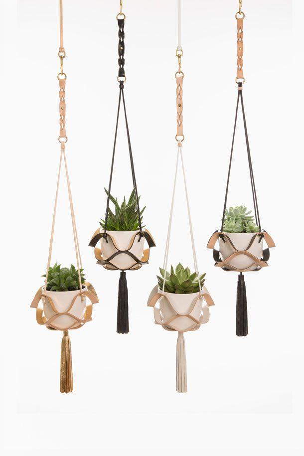 Leather Plant Hangers Plantenhanger Decoratie Ideeen Lederen Accessoires