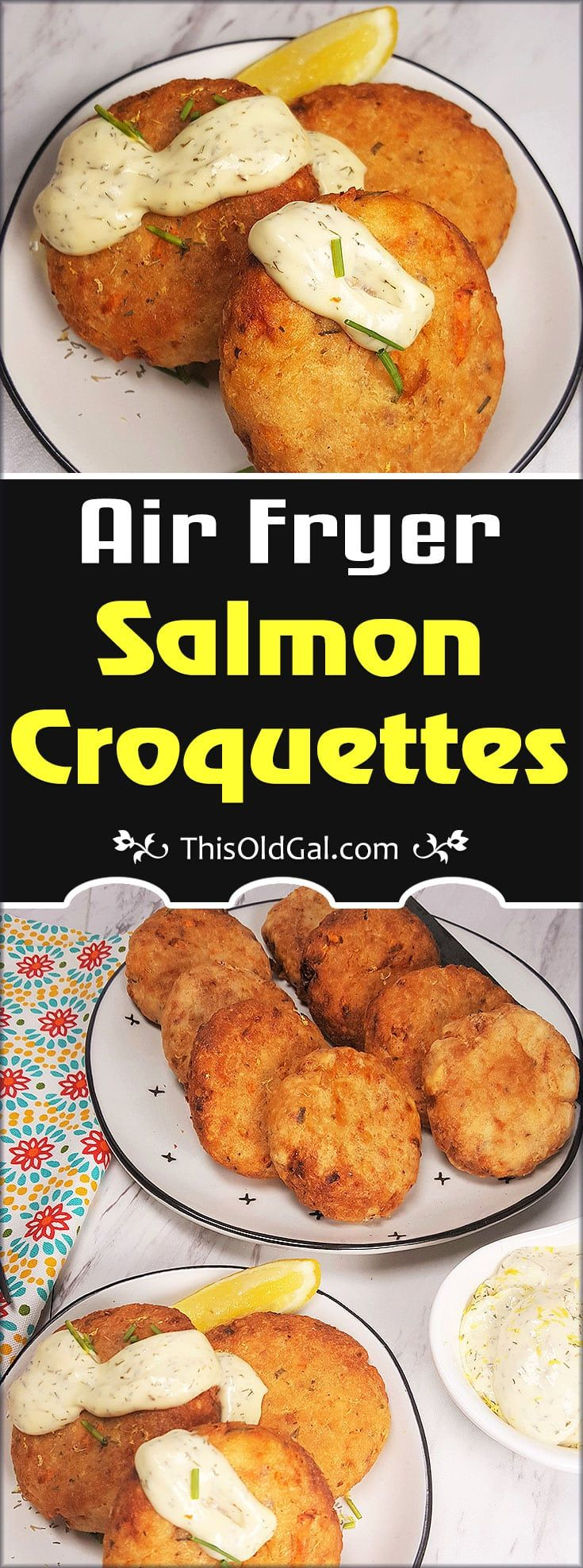 Crispy on the outside and moist and creamy on the inside, Jewish Style Air Fryer Salmon Croquettes make a perfect Friday Night meal. #airfryerrecipes