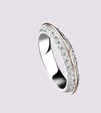 Eternelle Grace Wedding Band Paved With Diamonds White Pink Gold Thread By Boucheron Paris