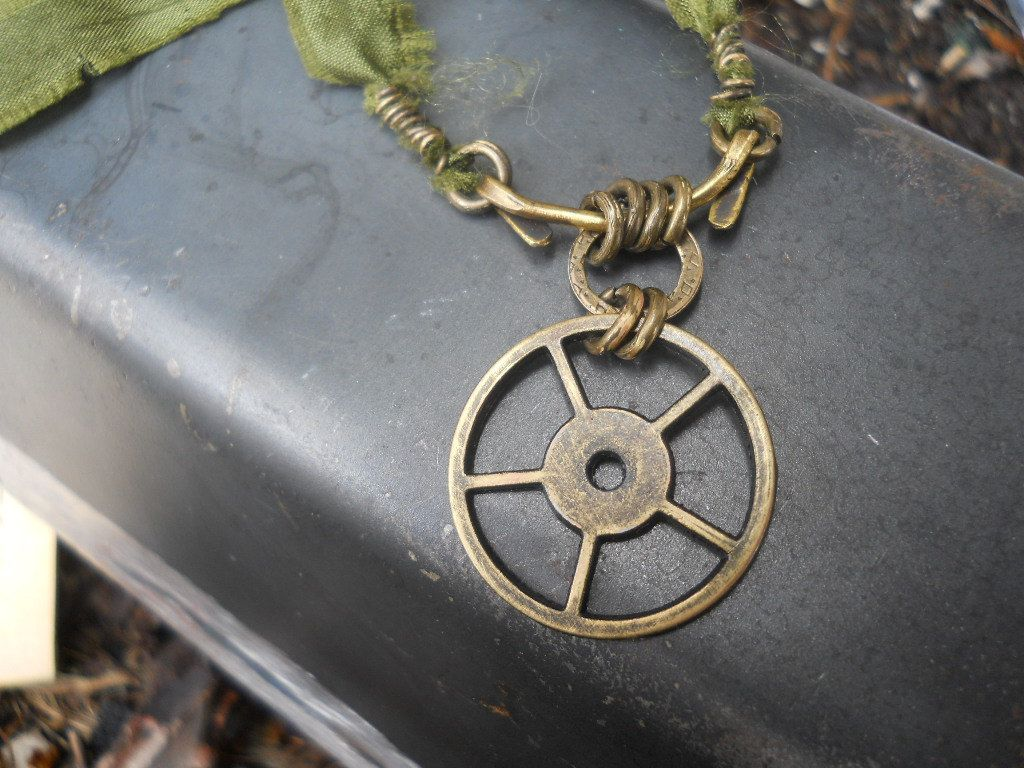 Forged Brass and Gear necklace with green crushed silk (beauteous!)