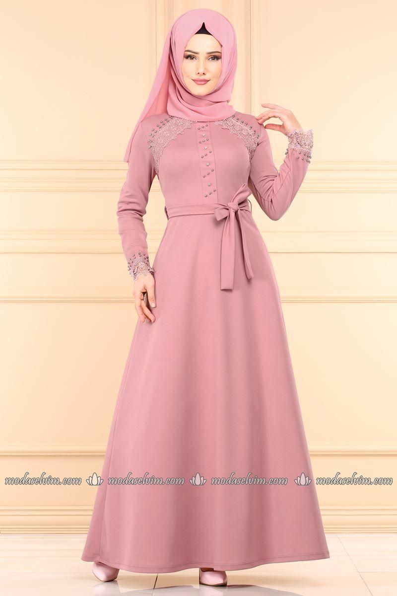 Moda Selvim Dantel Detay Tesettur Elbise Pl828 Pudra Elbise The Dress Elbiseler