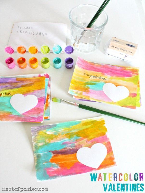 Watercolor Valentines Easy Valentine Crafts Valentine Crafts