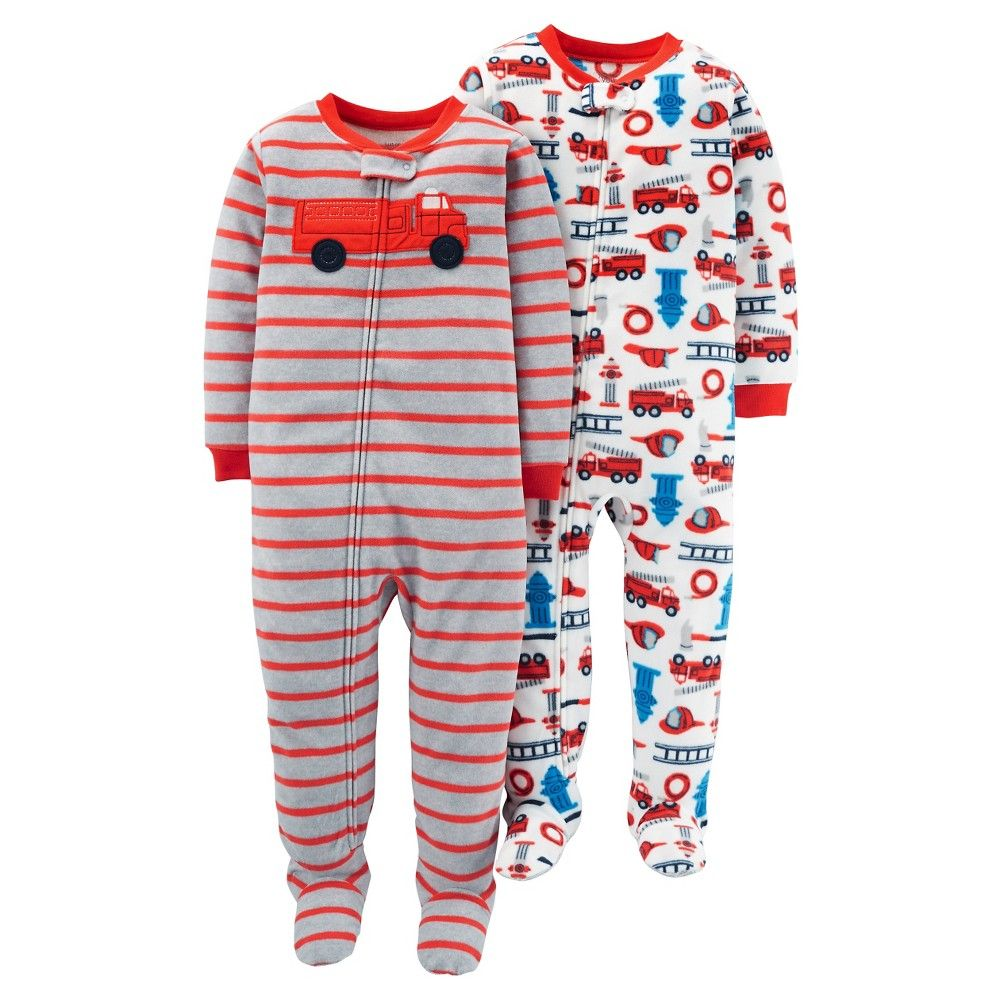 bd67f26d55 Toddler Boys  2pk Stripe Firetrue Blanket Fleece Footed Sleepers - Just One  You Made by Carter s Hen Red
