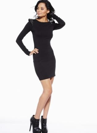 Black Long Sleeve Fitted Dress with Stud Shoulder Detail,  Dress, long sleeve dress  studded dress, Chic