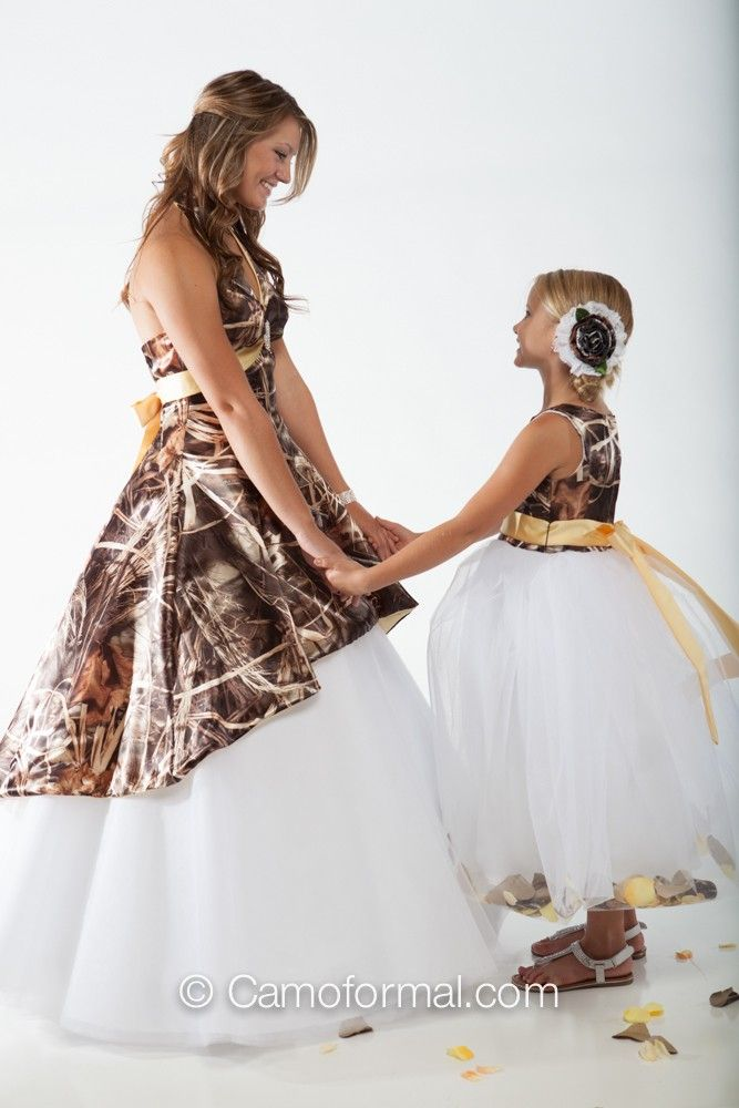 camo flower girl dresses | ... 3659M dress over Circle Net Skirt ...