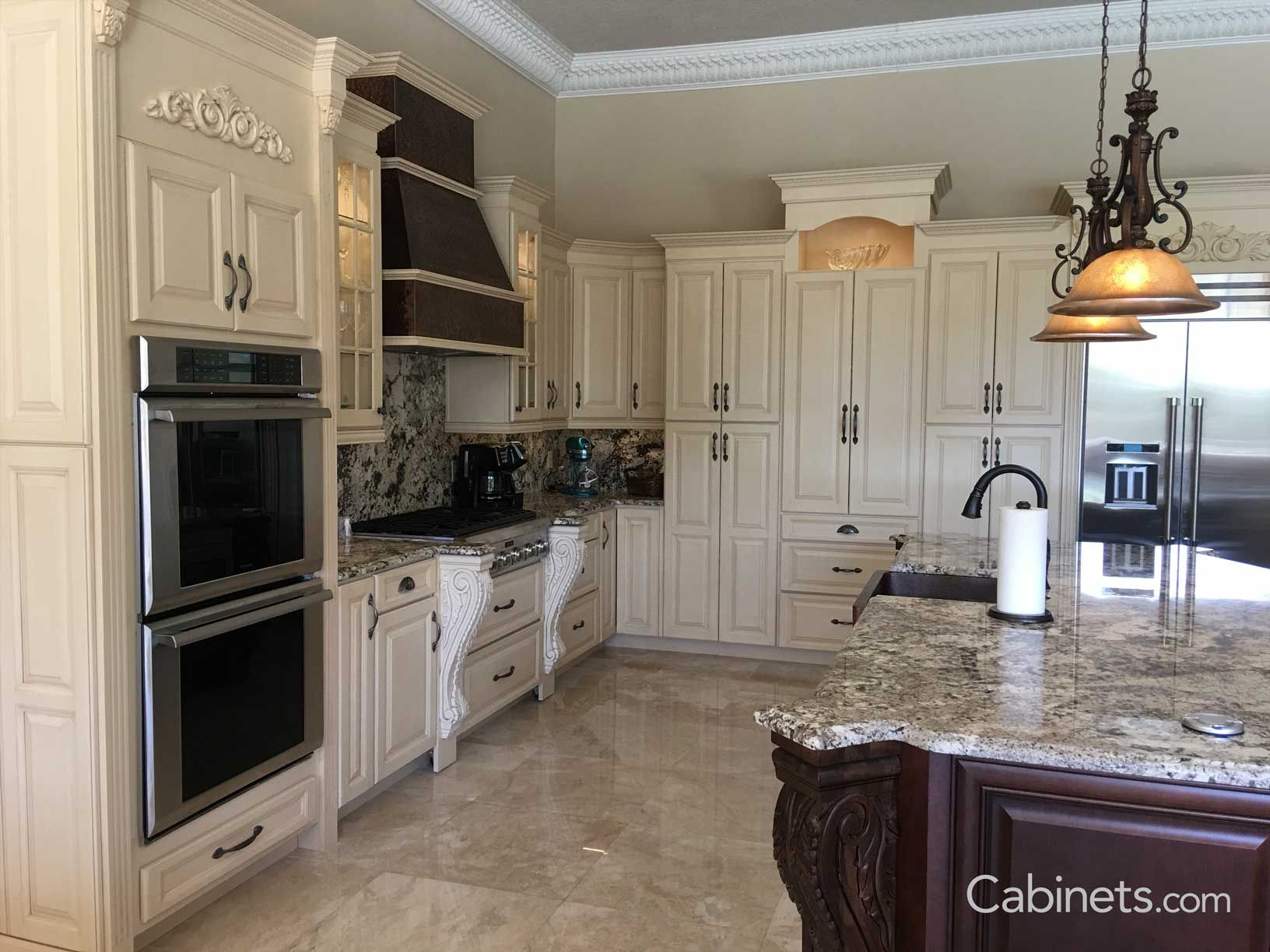 Youngstown Maple Antique White Brushed Brown Glaze Cabinetscom Victorian Kitchen Cabinets Victorian Kitchen Kitchen Cabinet Styles