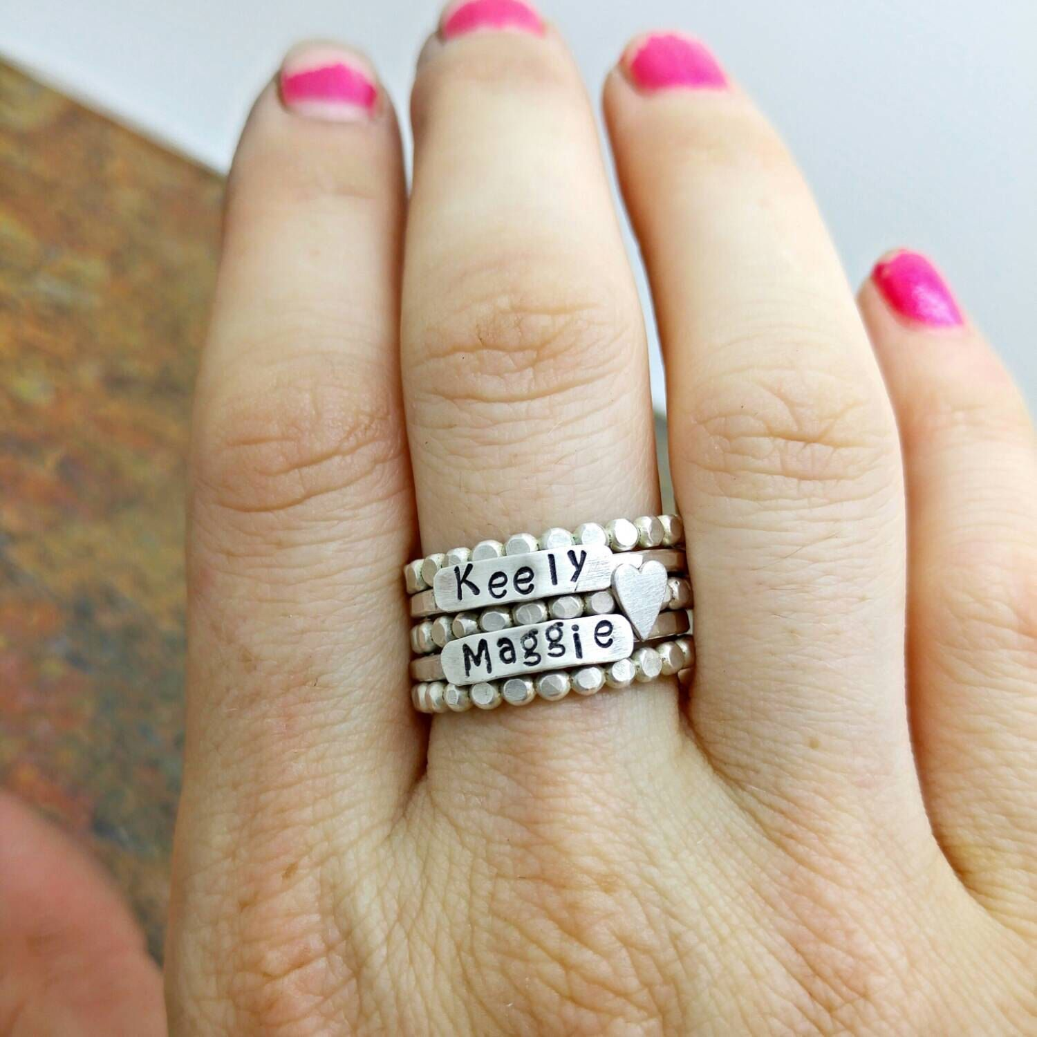 Stackable Mothers Rings 2 Names 3 spacers 1 heart sterling silver