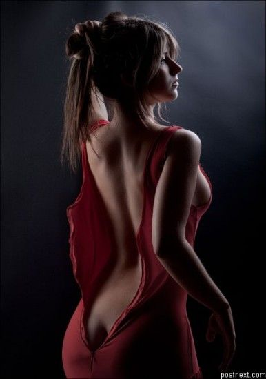 Red Dress Blonde Black Background