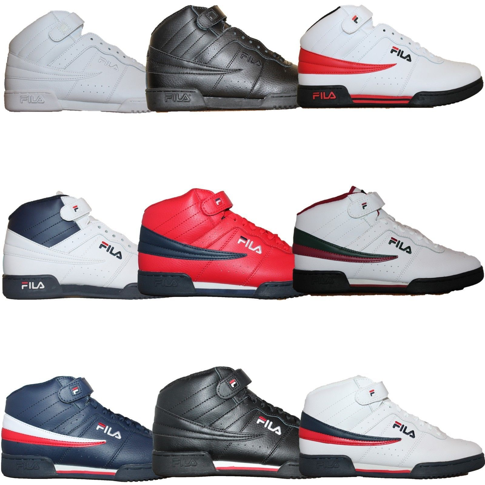 Mens Fila F13 F 13 Classic Mid High Top Basketball Shoes Sneakers