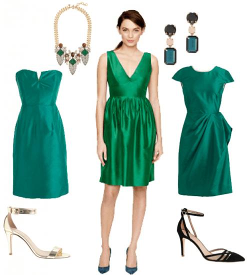 Vestido de fiesta de dia verde