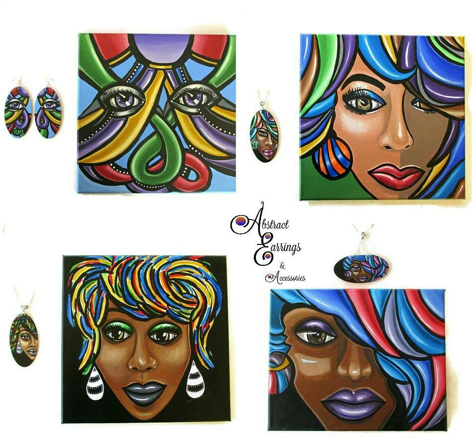 Matching art u jewelry by abstract earrings u accessories hand