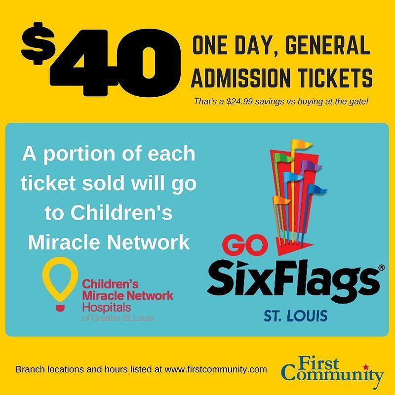 Planning A Trip To Six Flags We Have Discounted Tickets Stop By Your Local First Community Company Culture Admission Ticket Community