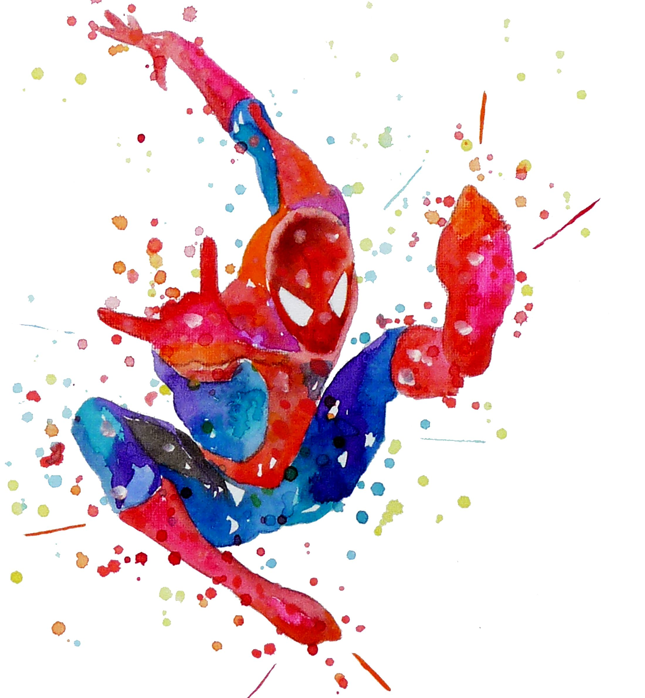 Spiderman Watercolor Poster Print Spider Man Superhero Printables