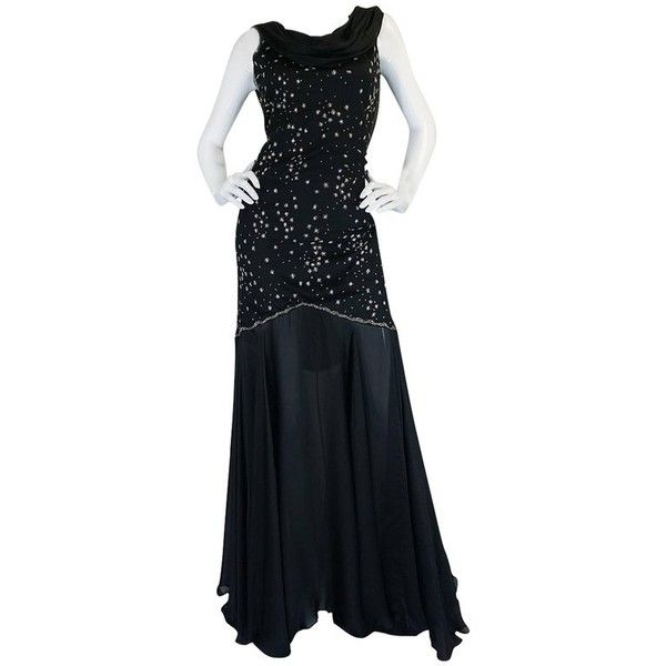 Preowned 1980s Genny Backless Black Silk Dress W Silver Thread ...