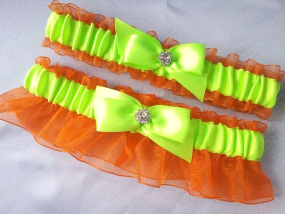 orange lime green garter set rhinestone accent bridal garter set