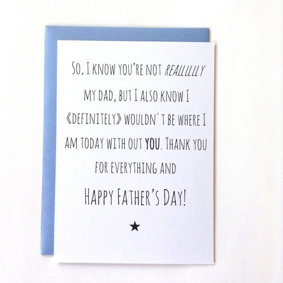 Step Fathers Day Card For Step Dad Like A Father Happy Fathers