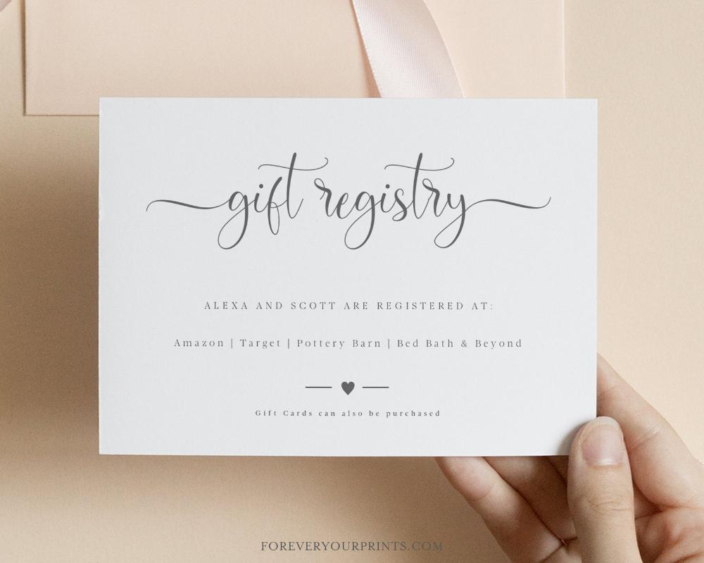 Wedding Registry Card Template Gift Registry Card Minimalist Wedding Fully Editable Instant Download In 2021 Wedding Registry Cards Gift Registry Cards Wedding Invitations Online