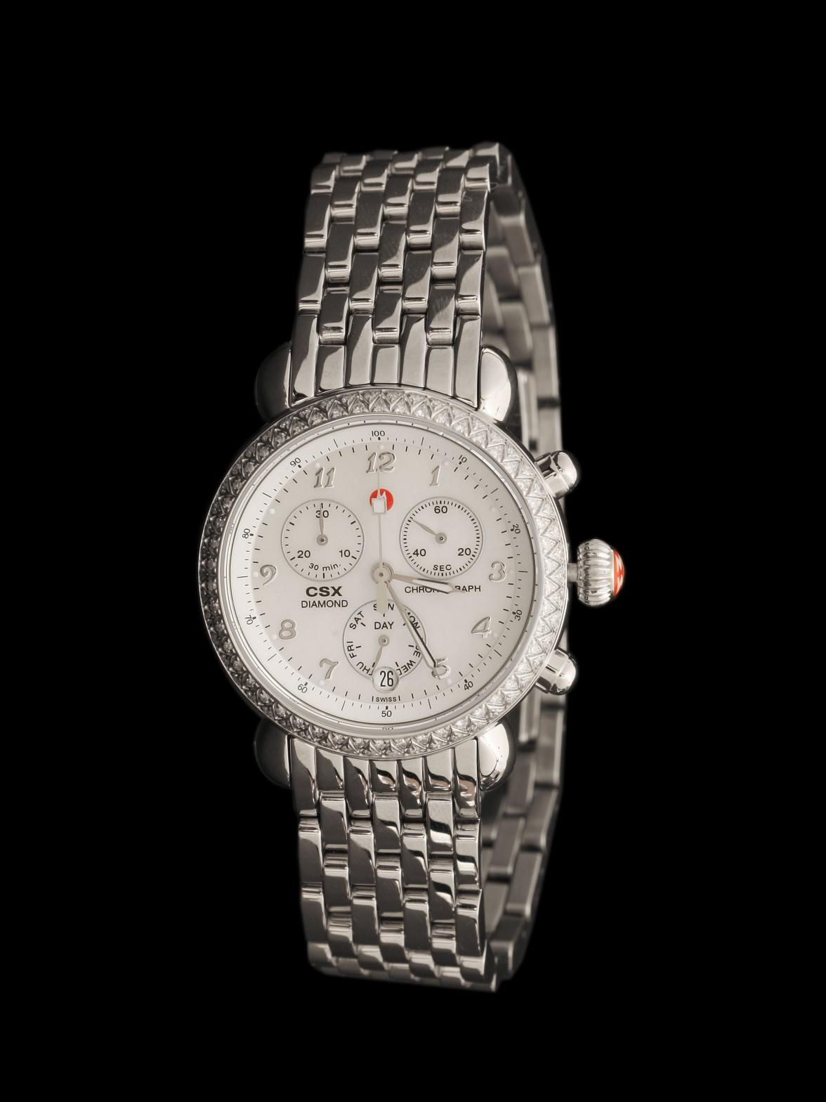 Michele Watch Stainless Steel CSX Diamond Chronograph. Diamond Bezel, Mother of Pearl Dial, Stainless Steel Bracelet. Diamonds approximately .60ct total weight. $1,745.00 Available at London Jewelers.