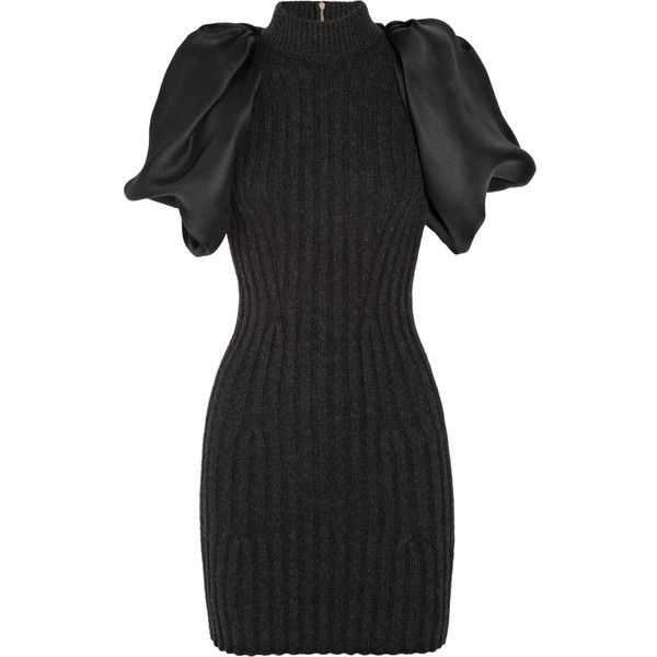 Lanvin Ribbed wool-blend and silk-gazar dress ($1,066) ❤ liked on Polyvore featuring dresses, vestidos, платья, short dresses, lanvin dress, fitted dresses, lanvin, fitted cocktail dresses and charcoal dress