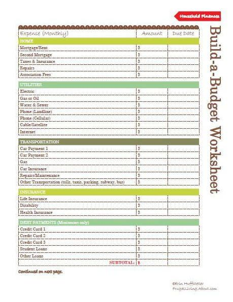 3 Free Printable Meal Planners Printable budget worksheet - household budget excel spreadsheet