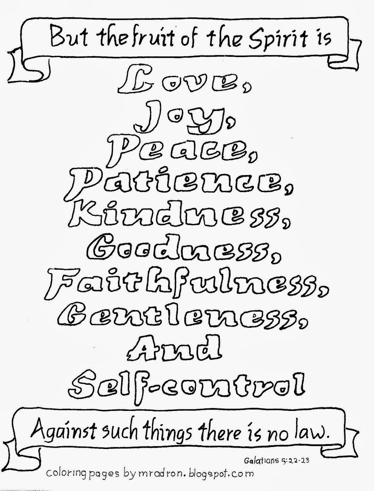 Free Fruit Of The Spirit Coloring Page Galatians 6 22 23