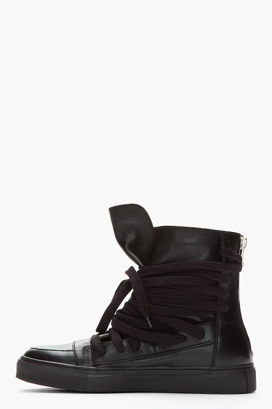 KRISVANASSCHE Black Leather Zippered Sneakers