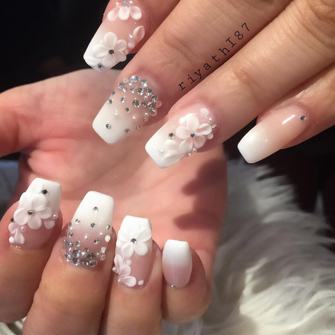 White gradient french nails + 3D flowers + Rhinestone. #nail ...