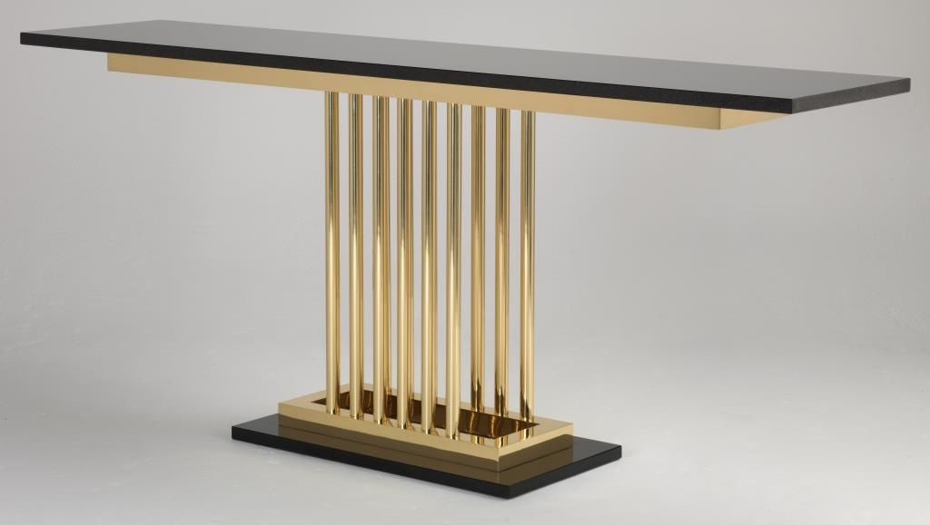 Milan Console Table In A Polished Gold Finish With Granite Top And Plinth