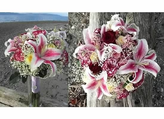 Traditional Hand Tied Bridal Bouquet With Stargazer Lilies Baby S