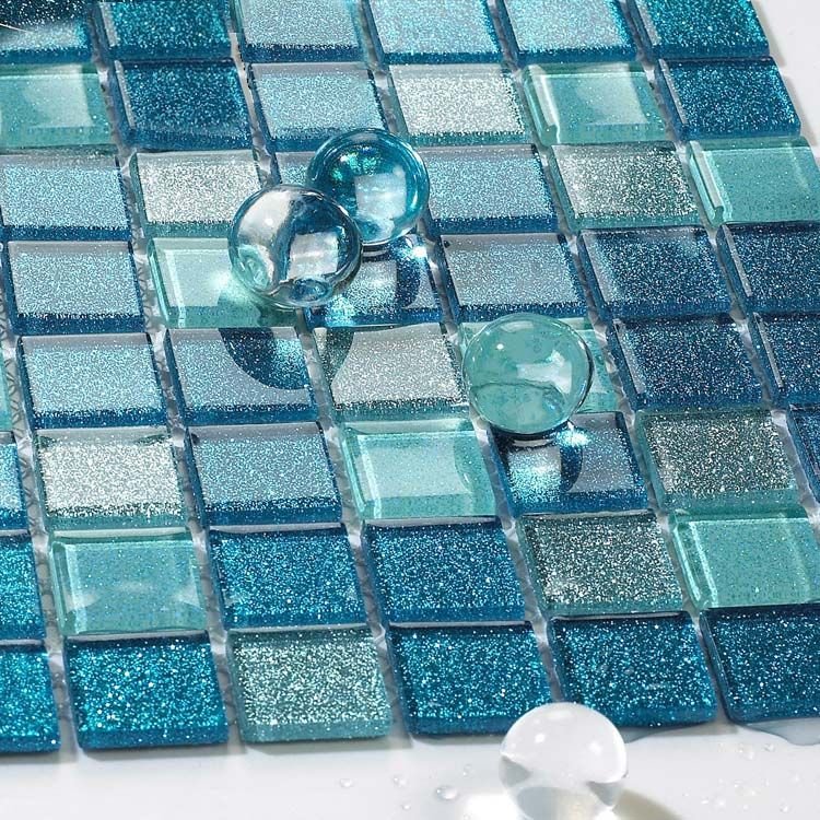 Sea glass tile backsplash ideas bathroom mosaic mirror tile sheets ...