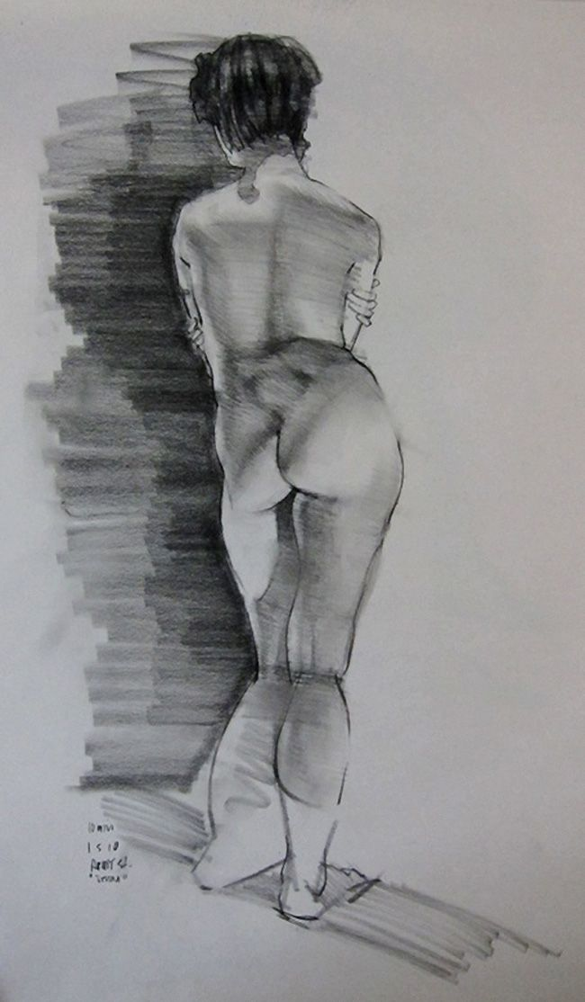 Standing nude female posterior back figure sketch in charcoal by ...