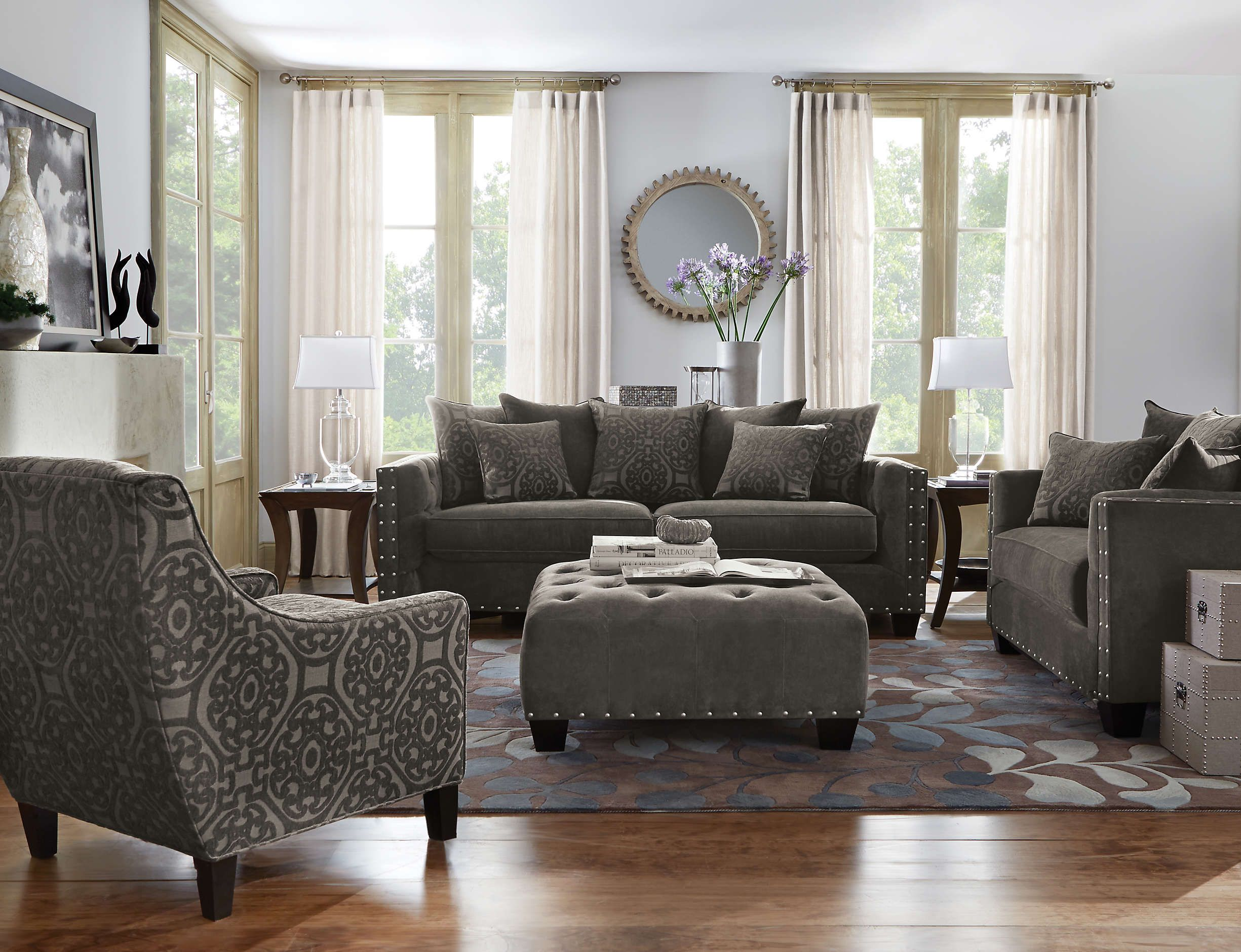 Cindy crawford 39 s sidney road brings luxurious style to Sidney road taupe living room collection