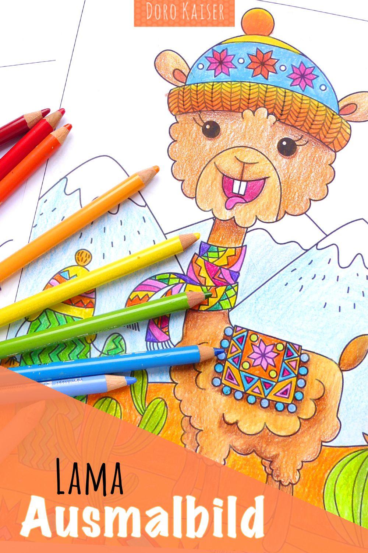 Ausmalbild mit Lama - Doro Kaiser Grafik & Illustration
