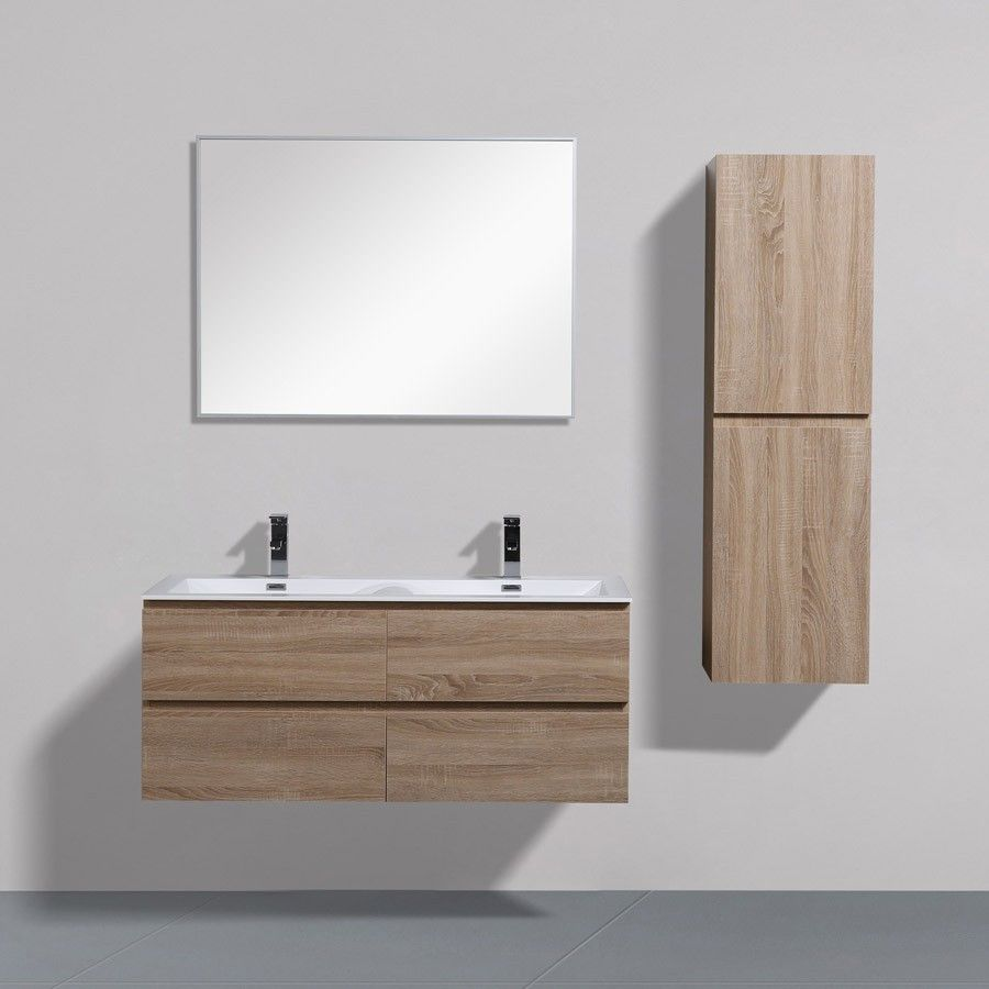Angela 120 Cm White Oak Wall Hung Vanity Double Thin Basin Wall Hung Vanity Vanity White Wall Hanging
