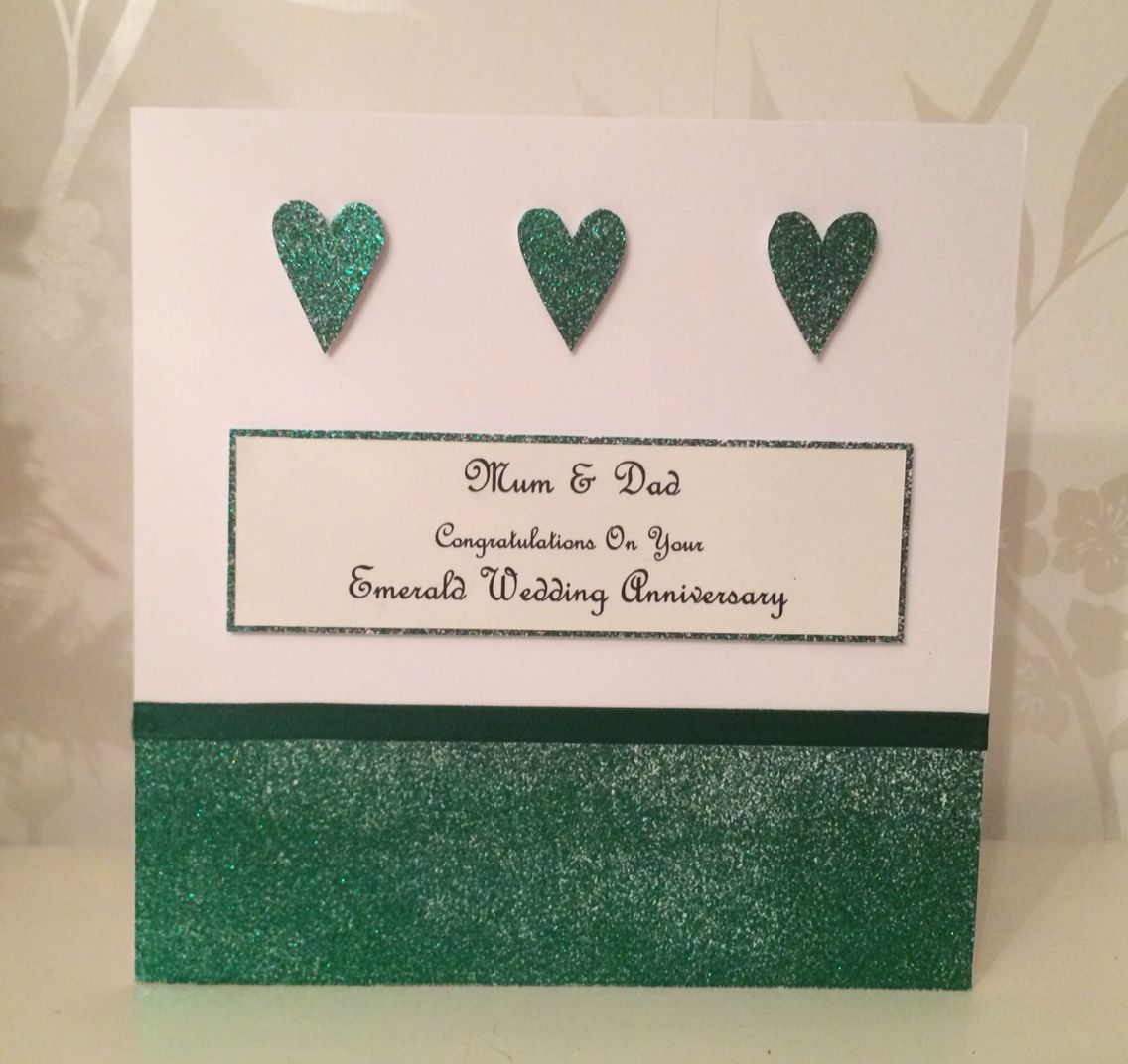wedding anniversary card pictures%0A Handmade personalised emerald wedding anniversary card
