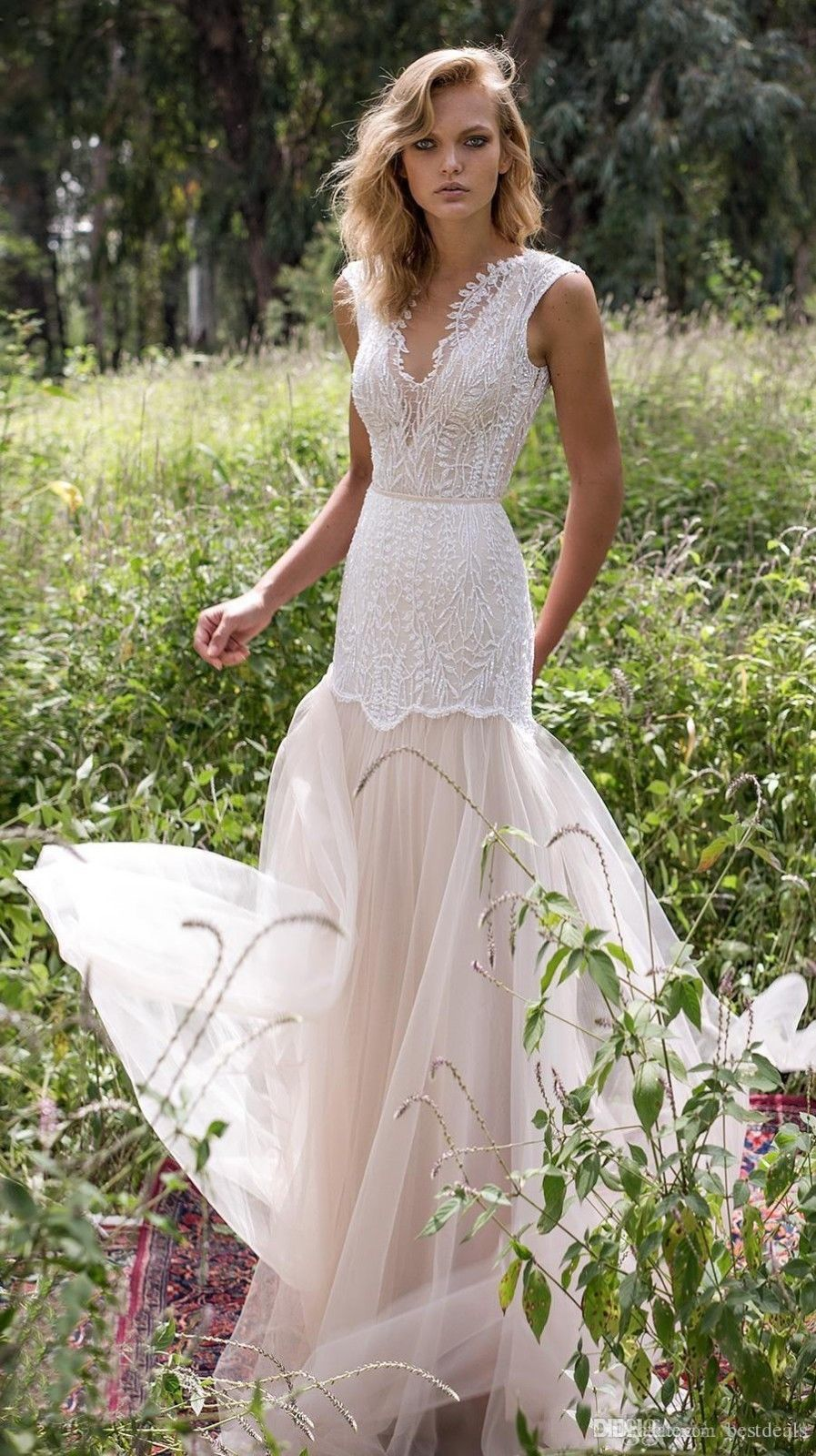 Vintage country wedding dresses illusion bodice applique beach boho