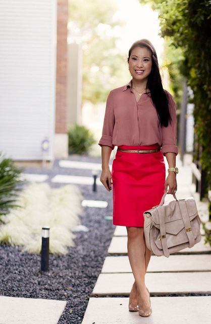 pink chiffon button down shirt, coral j.crew coral no. 2 pencil skirt, nude pumps