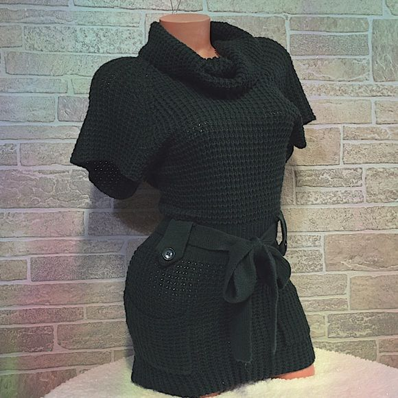 Cowl Neck Crochet Dress W/ Pockets Dark Green Crochet Cowl neck sweater Dress or tunic, Has matching removal belt. 2 front pockets. Short sleeve, very Pretty. 🚫Trade Free Closet 🚫Lowball offers will be declined 🚫Drama / Rude Free  🚭 Smoke Free Home 🐾Pets live here {I may not get every single hair off item, but I try my best} 🚫Drama / Rude Free  💔No Holds 🌀Mannequin: •Height of torso: 30 Inches.  •Chest/Bust: 34.8 Inches •Waist: 24.2 Inches Hips: 37 Inches Say what Tops Tunics