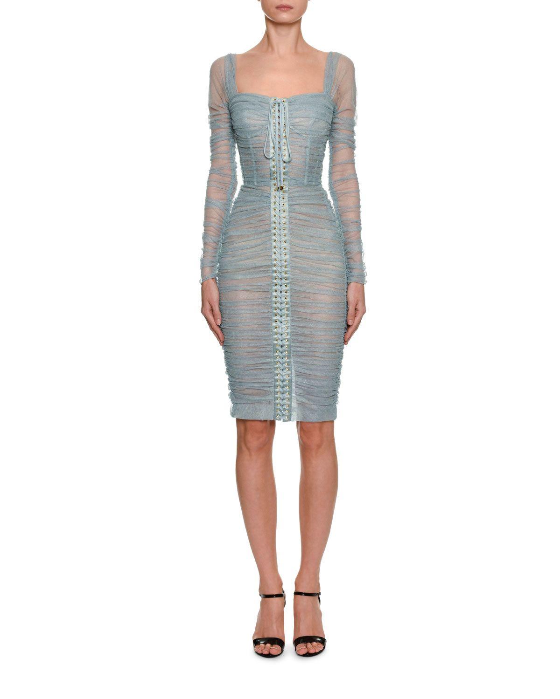 Dolce Gabbana Long Sleeve Ruched Shimmer Tulle Corset Dress Corset Dress Tulle Corset Dress Dolce Gabbana Dress [ 1500 x 1200 Pixel ]