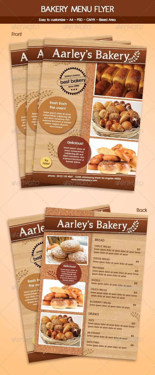 Bakery menu flyer template flyer template bakeries and for Bakery brochure template free