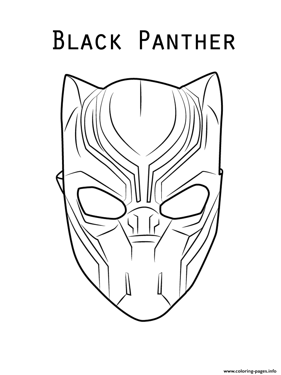 Print marvel movie black panther mask coloring pages