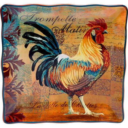 Bring a touch of the barnyard to your dining table with this eye-catching platter, featuring a bold rooster print.Product: Platte...