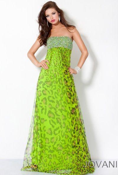 Jovani Lime Green Animal Print Long Prom Dress 3479