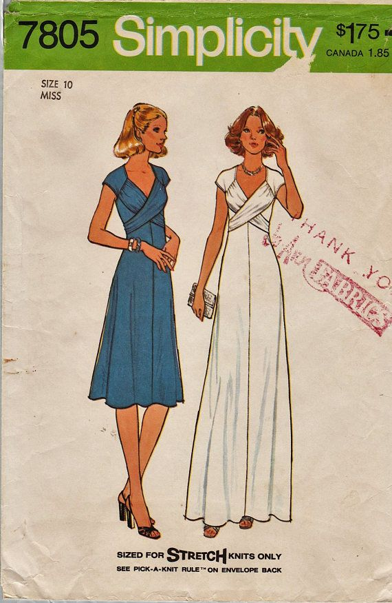 Simplicity 7805 / Vintage Sewing Pattern / Dress Gown / Size | 70-s ...