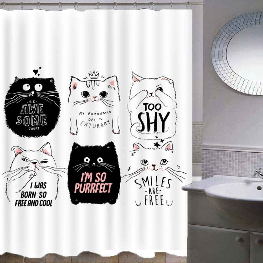 Mymyu Cat Shower Curtain Stylish Funny Cats With Moustache Bow Tie Hat Crown Fluffy And Humor Faces G Kid Bathroom Decor Cat Shower Curtain Bathroom Decor Sets