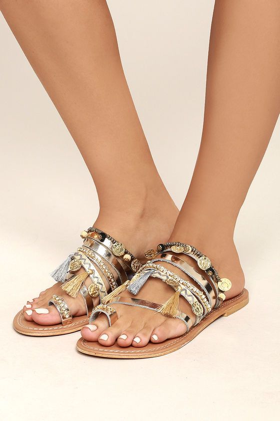 ae9beed27c8f3 Steve Madden Rippel Metallic Multi Leather Sandals in 2019 | Sandals ...